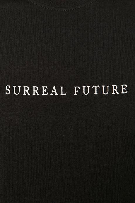T-shirt męski z napisem z bawełny organicznej czarny