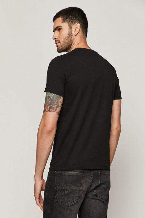 T-shirt męski z bawełny organicznej z nadrukiem czarny