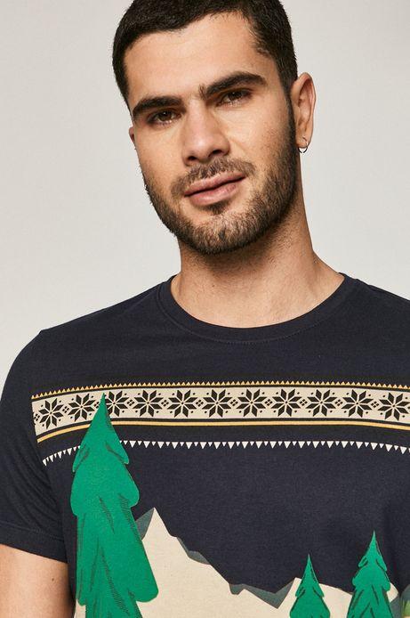 T-shirt męski z bawełny organicznej, X-mass by Justyna Frąckiewicz granatowy