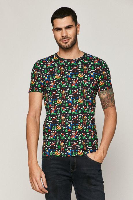 T-shirt męski z bawełny organicznej X-mass by Patryk Mogilnicki granatowy