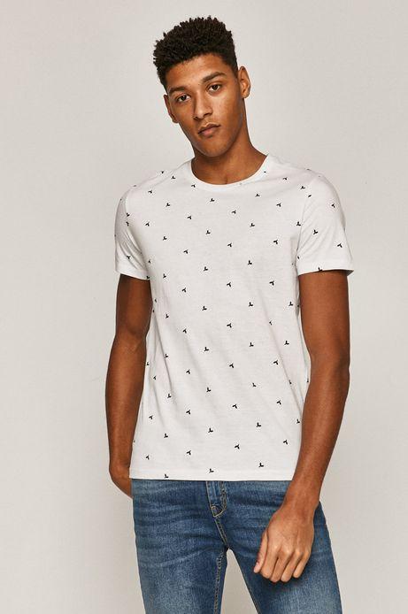 T-shirt męski bawełniany w drobny wzór biały