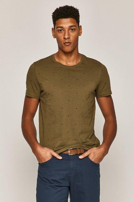 T-shirt męski bawełniany w drobny wzór zielony