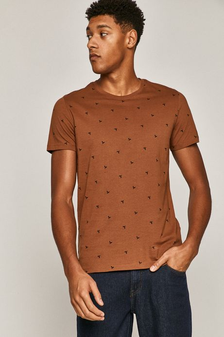 T-shirt męski bawełniany w drobny wzór brązowy