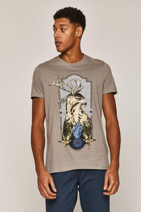 T-shirt męski z bawełny organicznej z nadrukiem szary