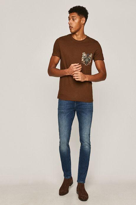 T-shirt męski z bawełny organicznej z nadrukiem brązowy