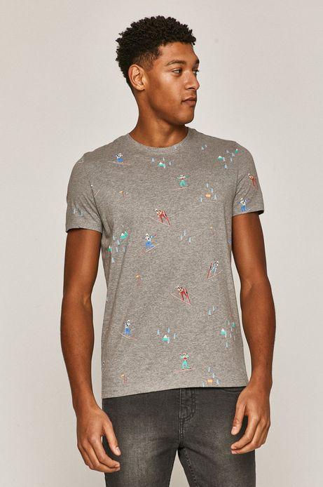 T-shirt męski Xmass z bawełny organicznej szary