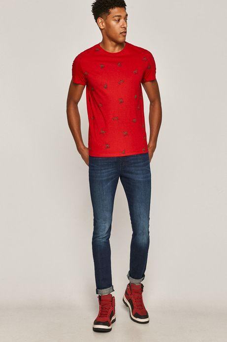 T-shirt męski Xmass z bawełny organicznej czerwony