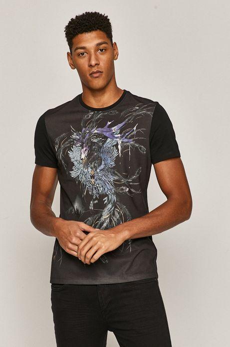 Bawełniany t-shirt męski z nadrukiem czarny
