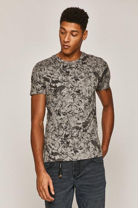 Bawełniany t-shirt męski z wzorzystej dzianiny szary