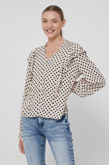 Bluzka damska z falbanką w grochy kremowa