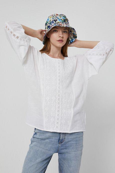 Bluzka bawełniana damska z haftem biała