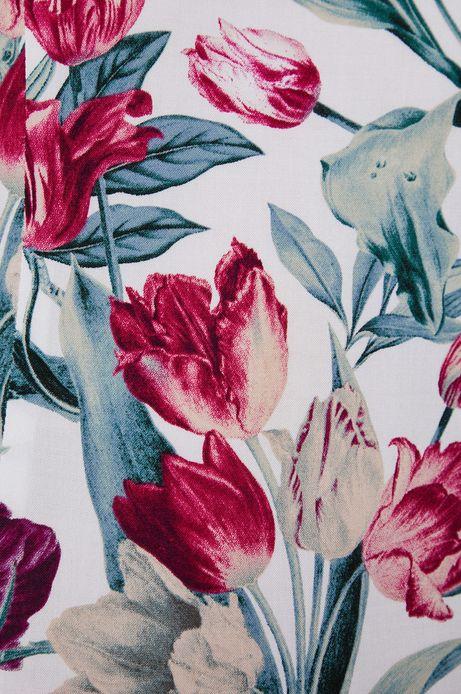 Bluzka damska z rękawem 3/4 w kwiaty