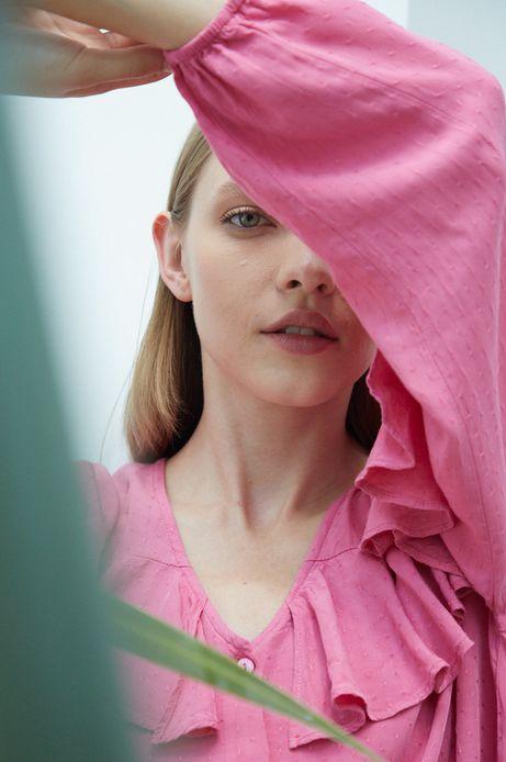 Koszula damska z falbankami różowa