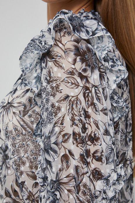 Bluzka damska z wiązaniem przy szyi biała