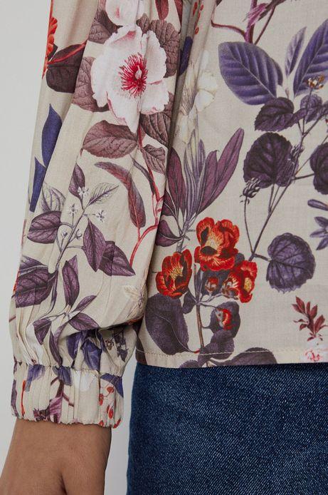 Bluzka damska z wiskozy w kwiaty kremowa