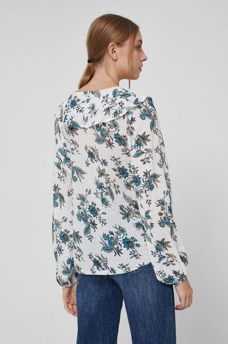 Bluzka z wzorzystej tkaniny damska biała