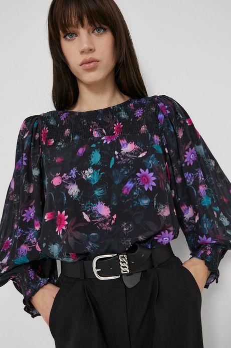Bluzka z wzorzystej tkaniny damska czarna