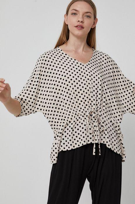 Bluzka damska z wiskozy w grochy kremowa