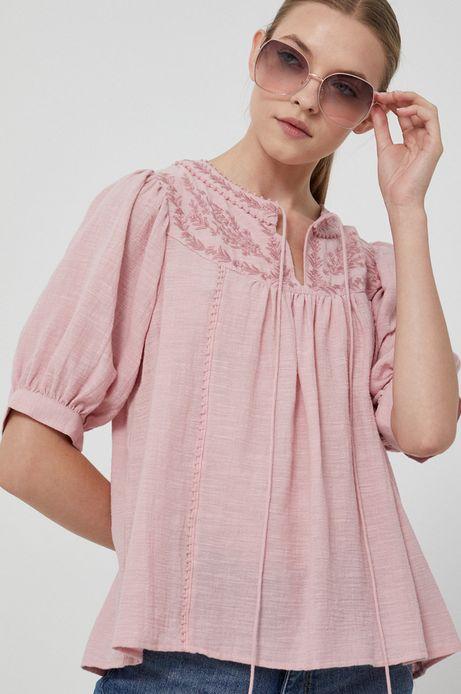 Bluzka bawełniana damska z haftem różowa