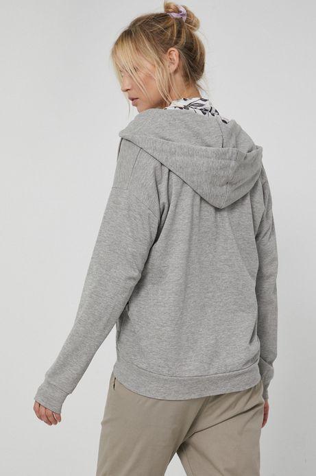 Gładka bluza damska z kapturem szara