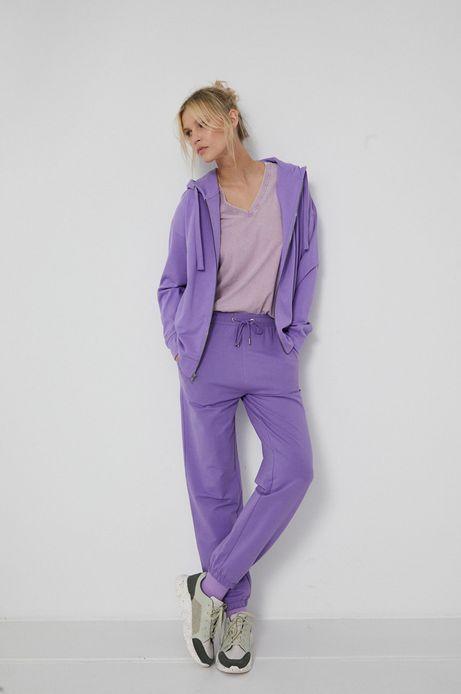 Gładka bluza damska z kapturem fioletowa