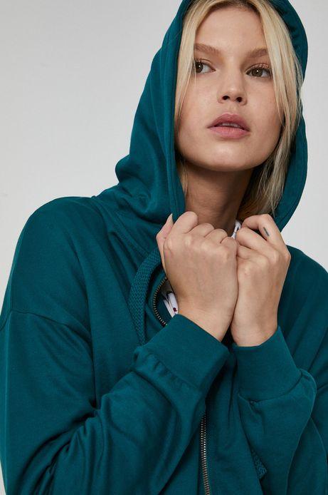 Gładka bluza damska z kapturem zielona