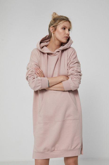 Długa bluza damska z kapturem różowa