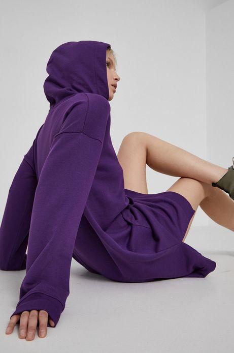 Długa bluza damska z kapturem fioletowa