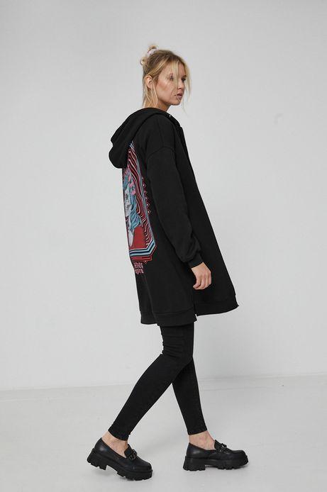 Długa bluza damska z nadrukiem na plecach czarna