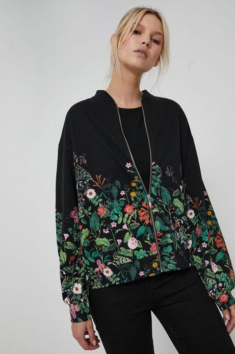 Bluza bawełniana damska Dark Blooms czarna