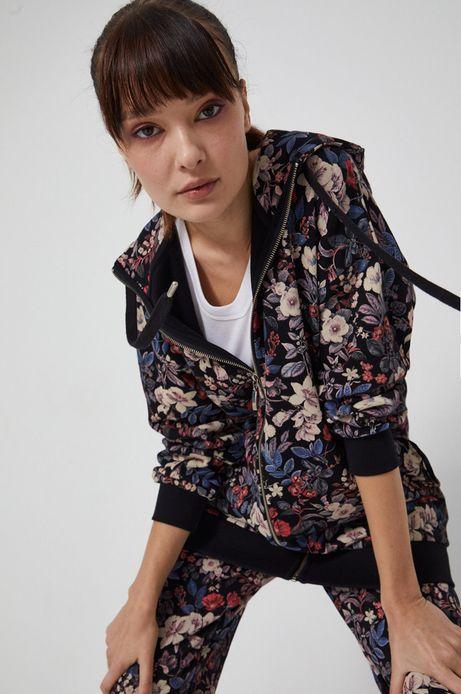 Bluza bawełniana damska w kwiatowy wzór czarna