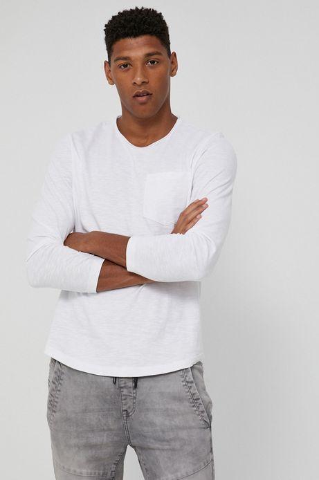 Bawełniany longsleeve męski z kieszonką biały