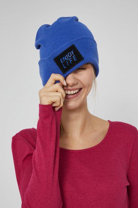 Czapka z aplikacją damska niebieska