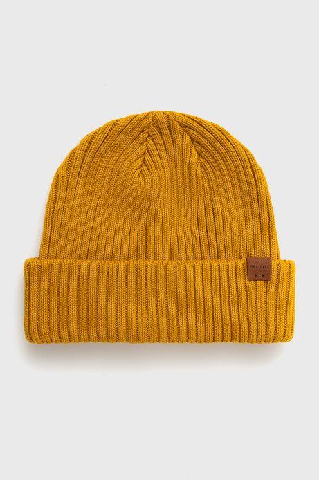 Czapka bawełniana męska żółta