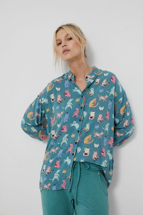 Koszula damska z wiskozy turkusowa