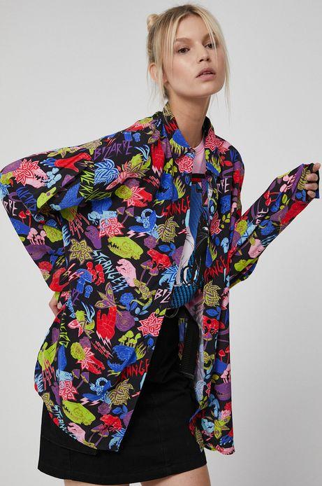 Koszula damska oversize z wzorzystej tkaniny