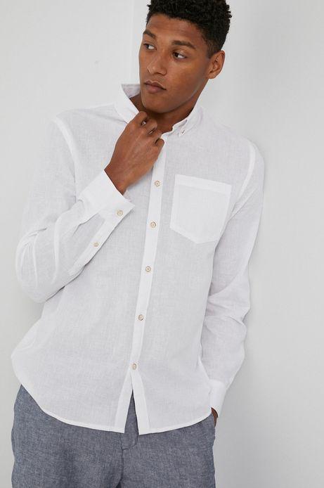 Koszula męska z bawełną organiczną i lnem biała