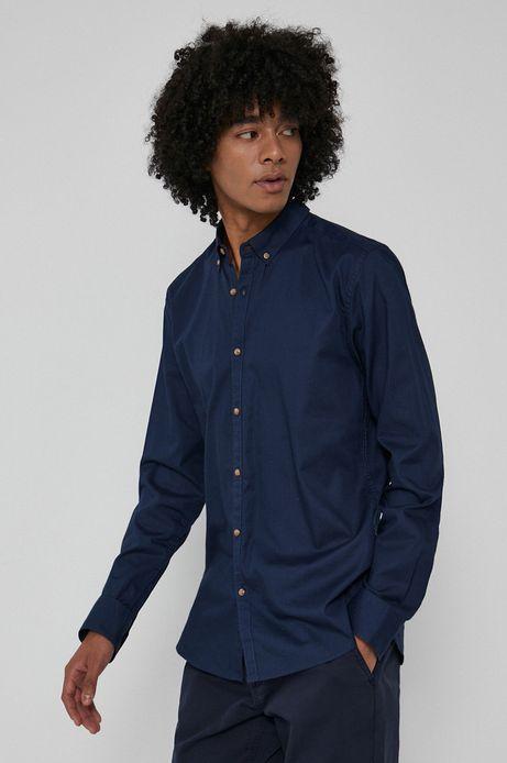Koszula z gładkiej tkaniny męska granatowa