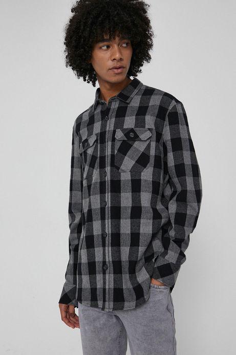 Koszula z bawełnianej tkaniny męska czarna