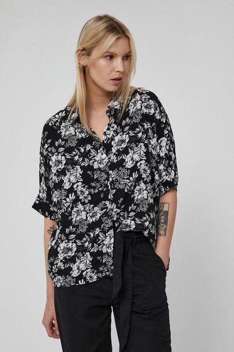 Wzorzysta koszula damska z wiskozy czarna