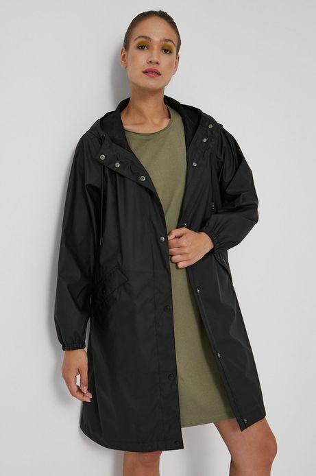 Płaszcz wodoodporny damski czarny z klejonymi szwami