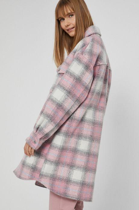 Płaszcz damski o koszulowym kroju w kratkę różowy