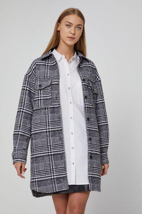Płaszcz damski o koszulowym kroju w kratkę czarny
