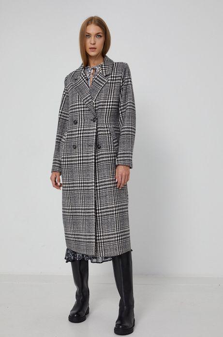 Dwurzędowy płaszcz damski z domieszką wełny z recyklingu w kratę czarny