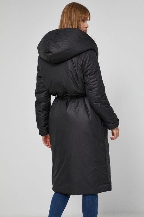 Kurtka z gładkiego materiału damska czarna