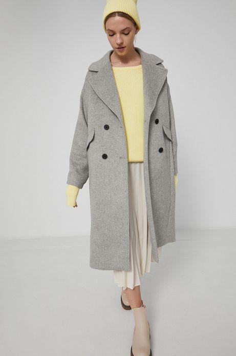 Płaszcz z domieszką wełny damski szary