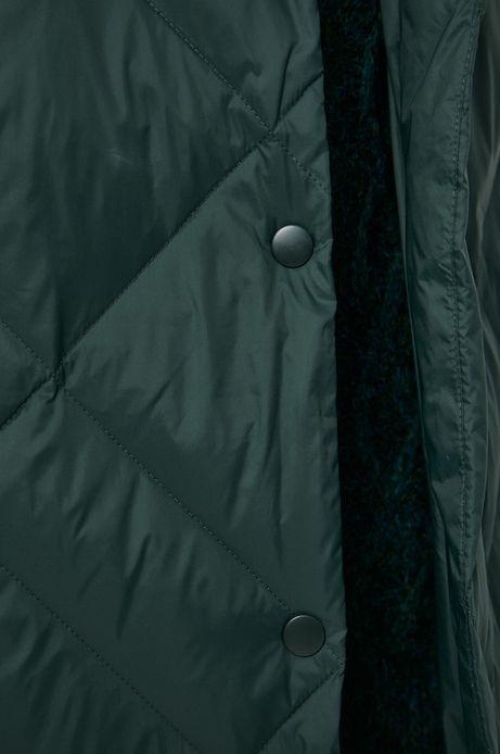 Kurtka puchowa z pikowanego materiału damska zielona