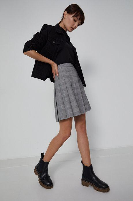 Kurtka jeansowa damska z nadrukiem na plecach czarna