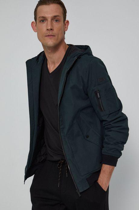 Krótka kurtka męska z kapturem zielona