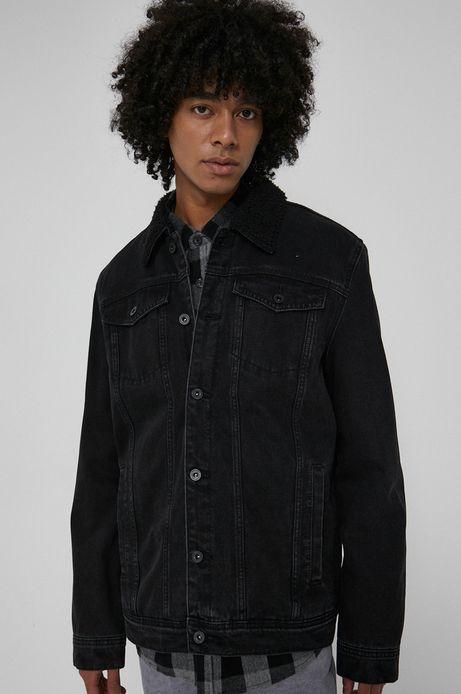 Kurtka jeansowa z lekkim ociepleniem męska czarna